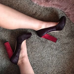Ann Taylor Block Heel Fuzzy Purple + Red Suede